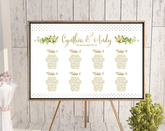 Find your Seat Chart, Printable Wedding Seating Chart, Wedding Seating Poster, Wedding Seating Sign, Wedding Seating Board th01 dd WC124