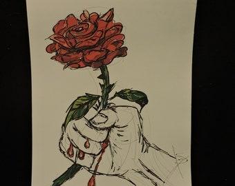 bleeding rose canvas