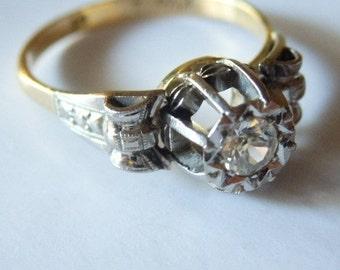 Sale! Art Deco 18k gold  palladium white topaz ring, unique, size 7