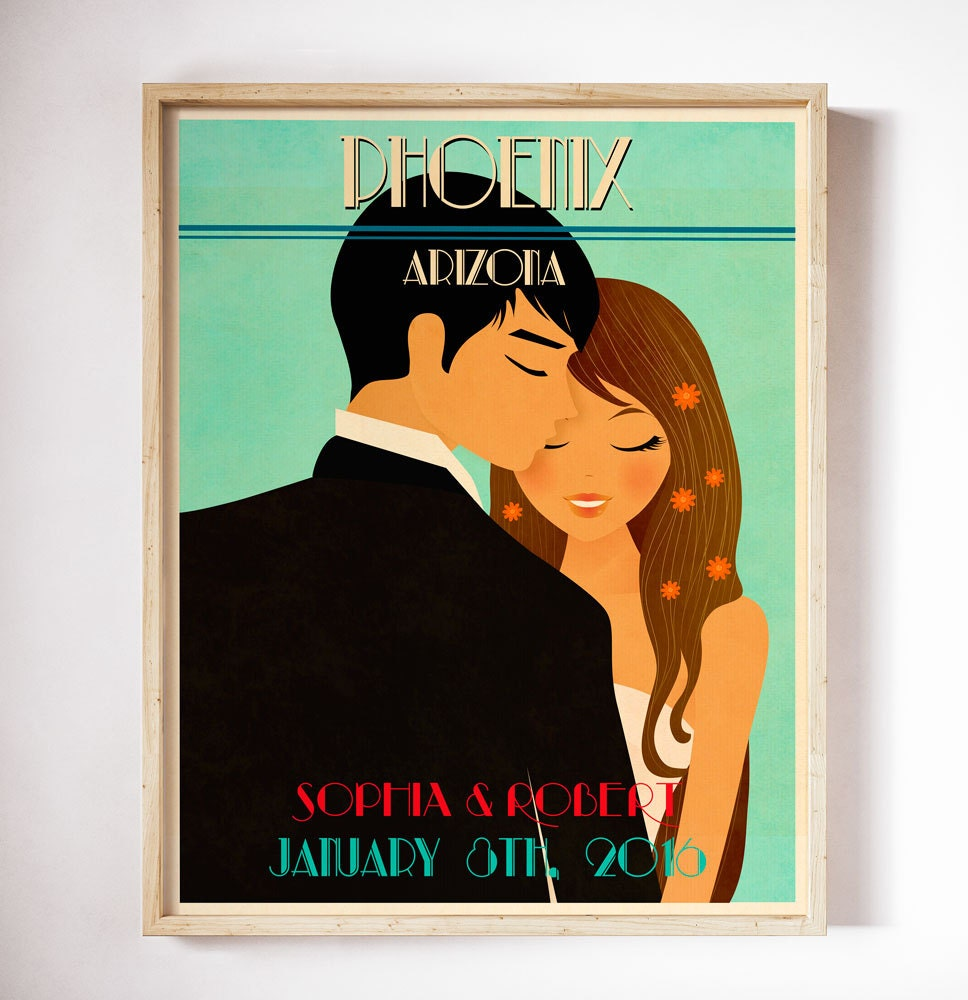 Personalised Wedding Gifts Vintage : Unique Wedding Gift Personalized Vintage Wedding Poster Retro