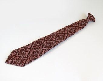 Vintage 1970s CLIP ON Retro Tie Brown Salmon Orange Arabesque Damask Pattern