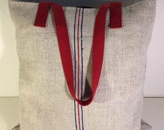 SALE!! Vintage grain sack big tote bag