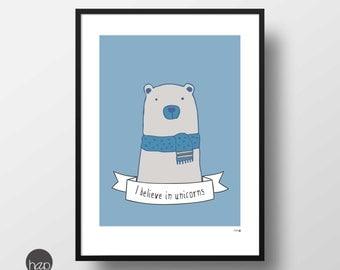 Unicorns Printable art, polar bear, unicorn quote, downloadable, unicorn poster, wall art quotes, instant download, art print, print art