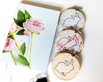 Rabbit Embroidery - Floral - Bunny Embroidery - Hoop Art - Minimalist - Nursery Decor - Nursery Embroidery