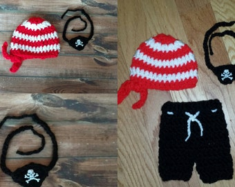 newborn pirate hat or pirate outfit,  pirate costume,  photography prop