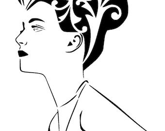 """11.7/16.5 """" A3 vintage woman stencil 1"""
