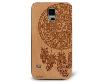Laser Engraved Aztec Mandala Om symbol with Paisley Feather Dream Catcher on Genuine Wood phone Case for Galaxy S5, S6 and S6Edge S-042
