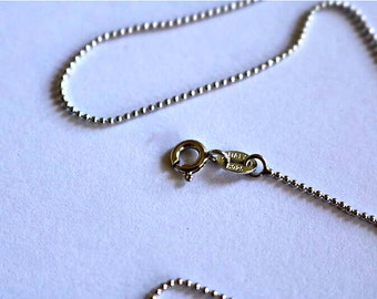 925 Sterling Silver Ball Round Chain Necklace  1mm - 17inch Long Strand - Hallmarked S925