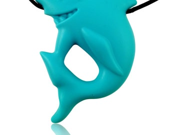 Shark Pendant Silicone Teething Necklace for Teething Babies and Kids to Wear-Teether Pendant