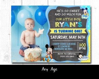 Mickey Mouse Baby Birthday Invitation, Printable Baby Mickey Invitation, Printable Baby Mickey Birthday Invitation