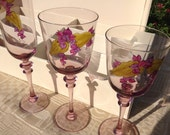 French vintage hand painted glasses, ainsi de suite, set of stemware in their original box,