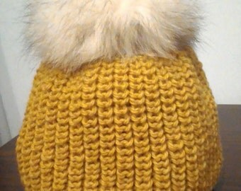 Warm winter knitted cap