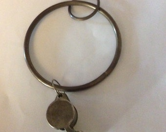 Vintage Brass Whistle on Large Brass Ring