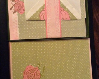Vintage Stationary Mead White and Wycoff Rose Garden