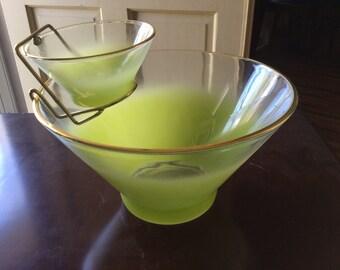 Vintage West Virginia Glass Blendo Green Chip and Dip Bowl Set