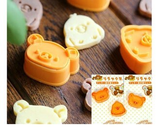 Rilakkuma Cookie Cutter Biscuit Mold Fondant Mold Cookie Plunger Japanese Bento Sandwich cutter Bear shaped cutter bento accessories