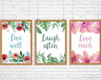 """3 POSTER PDF PRINTABLE live well laugh often love much. Size 8,2 x 11,7"""""""