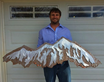 Mountain wall art.  Metal Mountain made from aluminum and steel, Hand crafted, handmade, metal artwork, metal wall art, one of the kind