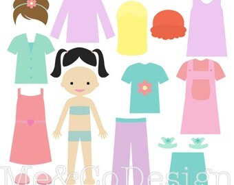 Girl Paper Doll Clipart, Fun Pretty Clipart, Accessory Clipart Instant Download, Personal and Commercial Use Clipart, Digital Clip Art
