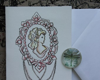 Cameo graphic handpainted greeting card