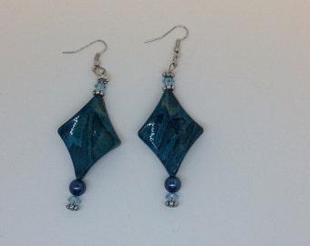 Turquoise snakeskin Print Earrings