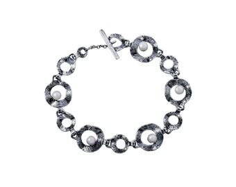 Sterling Silver and Pirl Bracelet, March Birthstone, March Bracelet, Birthstone Bracelet, Perl Bracelet, Perl gemstone, handmade