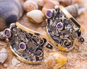 Silver and Gold Earrings, Purple Amethyst Earrings, Sterling Silver 925, 9 Karat Gold, December birthstone, Winter Earrings, handmade