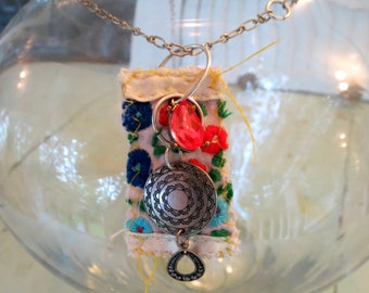 Vintage Mexican Embroidery Pendant Necklace - Hippie Necklace - Boho Necklace - Fiber Art Necklace - Textile Necklace - Reclaimed Fibers
