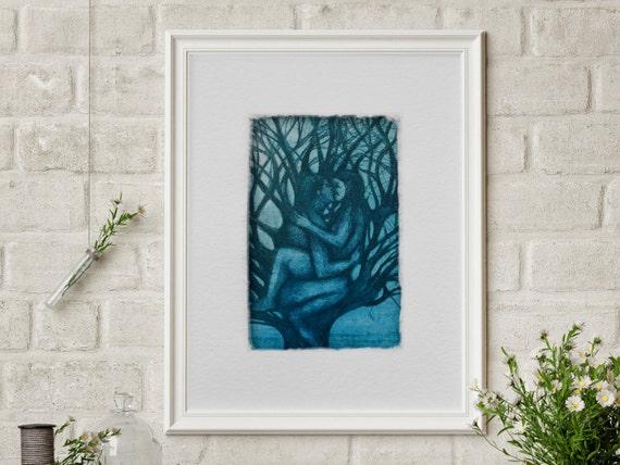 Art Print Lovers, wedding gift, print kiss, art print love, picture bedroom, anniversary gift , Philemon and Baucis, print tree, etching