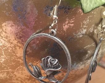 Rose Hoop Dangle Earrings