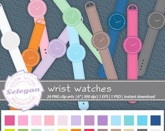 "watch clipart ""Wrist Watches"" digital clip art vector eps psd png transparent background instant download"