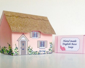 Gift Soap  Miniature House with a hand made soap. Rose Cottage.