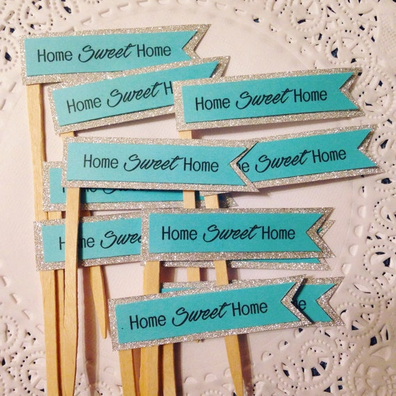 Cake Decoration For House Blessing : Flag cupcake toppers . Home sweet home . house warming party