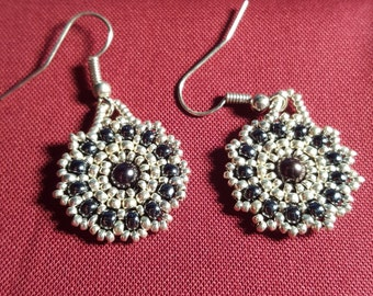 Dial Earrings (Silver, Black & Hemotite)