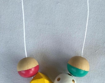 Wooden bead necklace // turquoise, white, yellow and pink // hand painted