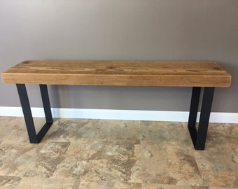 Salvaged Reclaimed Urban Bench W/ Industrial Steel Legs- Fast Shipping