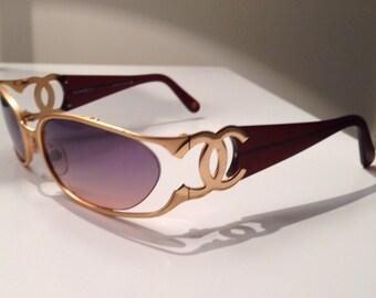 Vintage Chanel sunglasses; gold