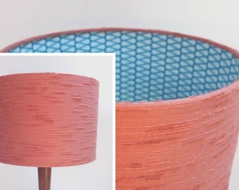 Retro Lampshade, Funky Original 60s/70s Fabric, 30cm Drum, Pink, Blue, Brown, Geometric, Striped