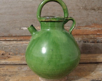 10.83 in Antique French Provence GREEN GLAZED CRUCHE Gargoulette Ceramic Pottery