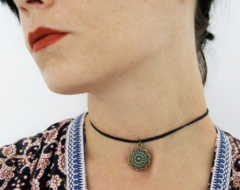 Bohemian Ethno Bronze Choker Necklace Hippie Boho Short adjustable with Charms