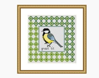 Cross Stitch Pattern, Modern cross stitch - GREAT TIT BIRD cross stitch chart - Downloadable pdf
