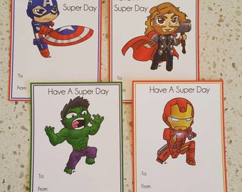 Avengers | Super Hero | Valentine's Day | Cards | Printable | Instant Download