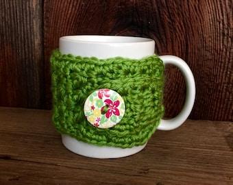 Tea Cup Cozy, Handmade Crocheted, Lime