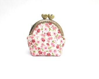 Pink Floral Heart Coin Purse / Coin Bag / Kisslock Frame Purse / Coin Pouch / Coin Wallet / Holder / Christmas Gift