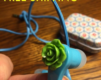 Cute flower earbuds with small tin portable container