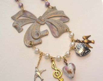 Charm Necklace Victorian Necklace Hand Beaded Chain, Bird and Heart Charms Music Note Charm