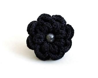Black Flower Ring, Crochet Ring, Flower Crochet Ring, Adjustable Flower Ring, Black Ring, Black Jewelry
