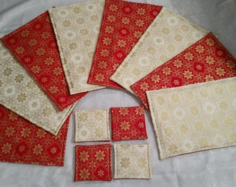 Christmas Table Placemats and Coasters. 1 Mat and Coaster. 8 sets available. Red/Cream/Gold. Handmade 100% Cotton Fabric