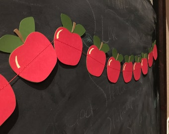 Apple Garland - back to school - celebrate teachers - school teacher apple decoration classroom doctors office class