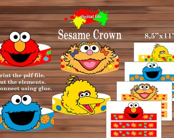 Sesame street paper Crown, Paper Crown, PDF, Instant Download